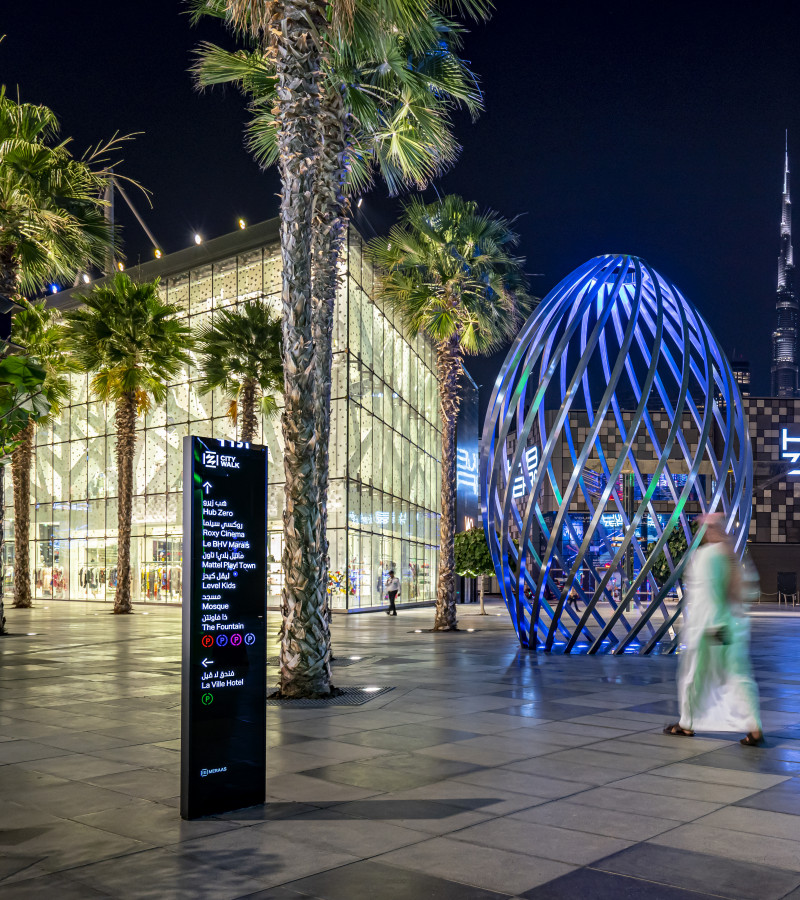 City Walk - residents walking by Endpoint's wayfinding totem